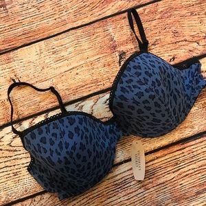 Blue leopard print bra